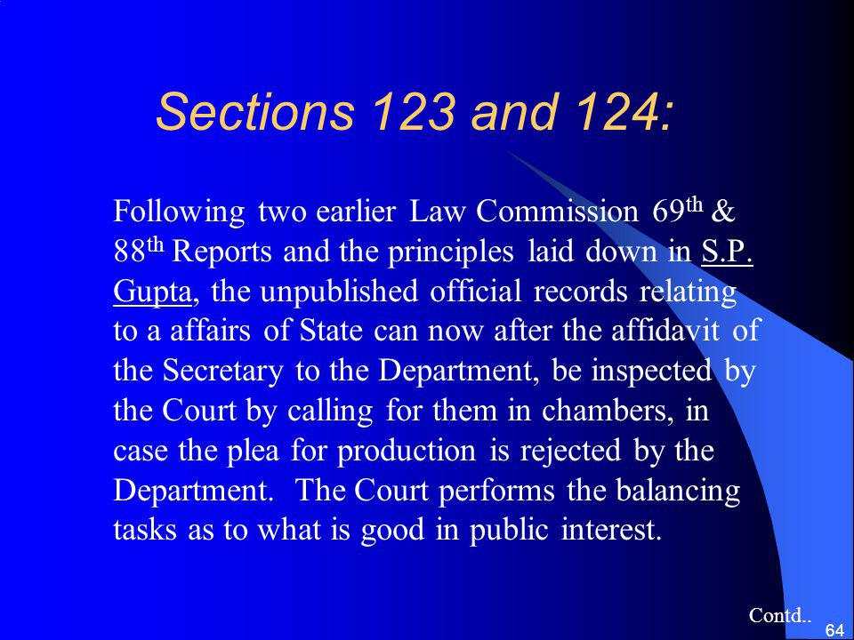 Sections 123 and 124: