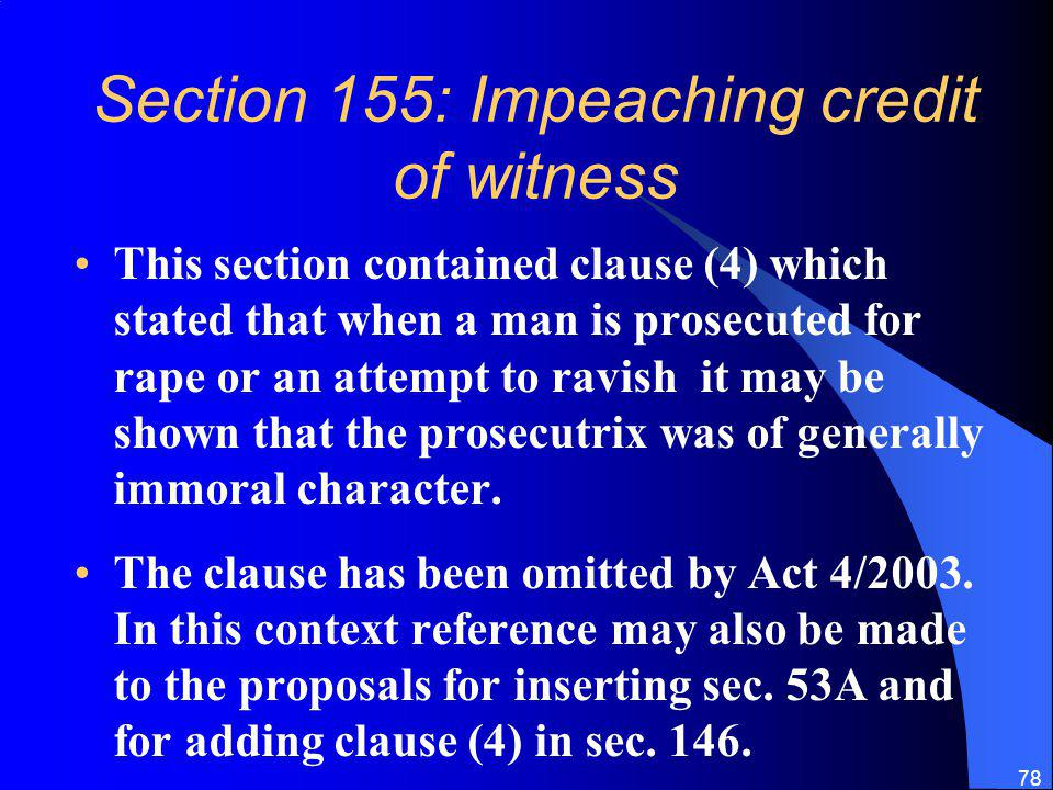 Section 155: Impeaching credit of witness