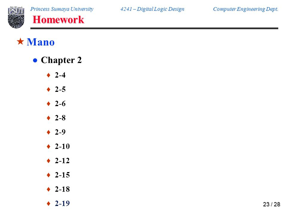 Homework Mano. 2-4. Reduce the following Boolean expressions to the indicated number of literals: