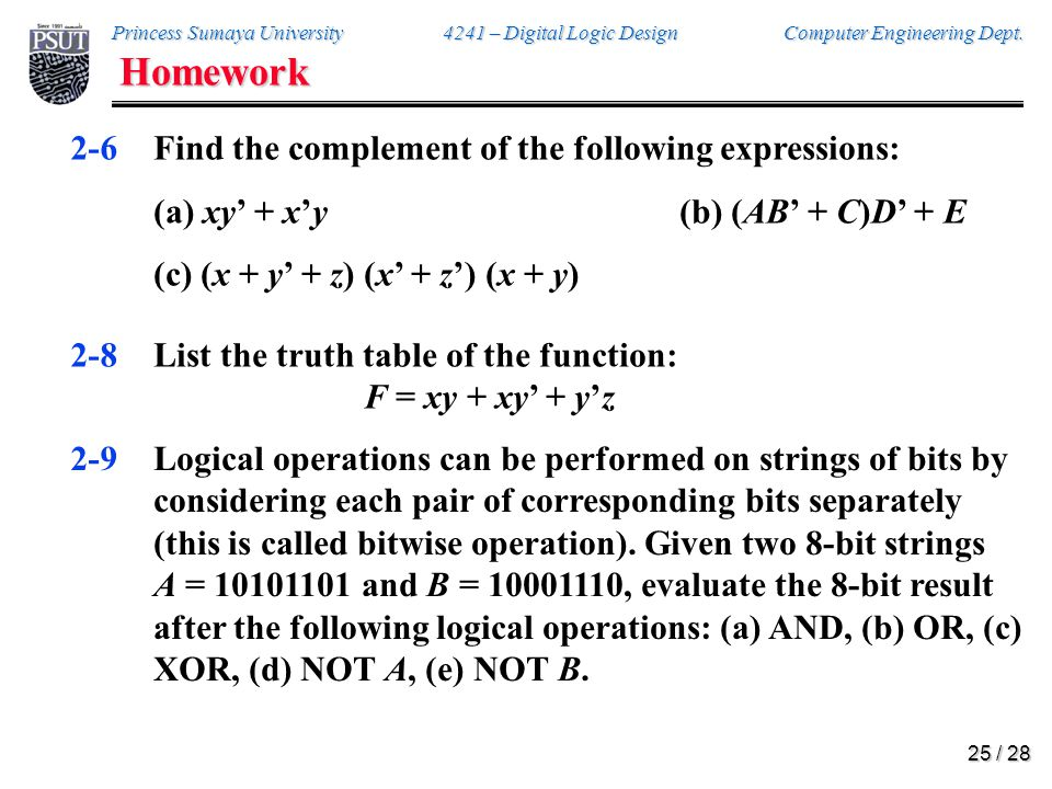 Homework 2-10. Draw the logic diagrams for the following Boolean expressions: (a) Y = A'B' + B (A + C) (b) Y = BC + AC'