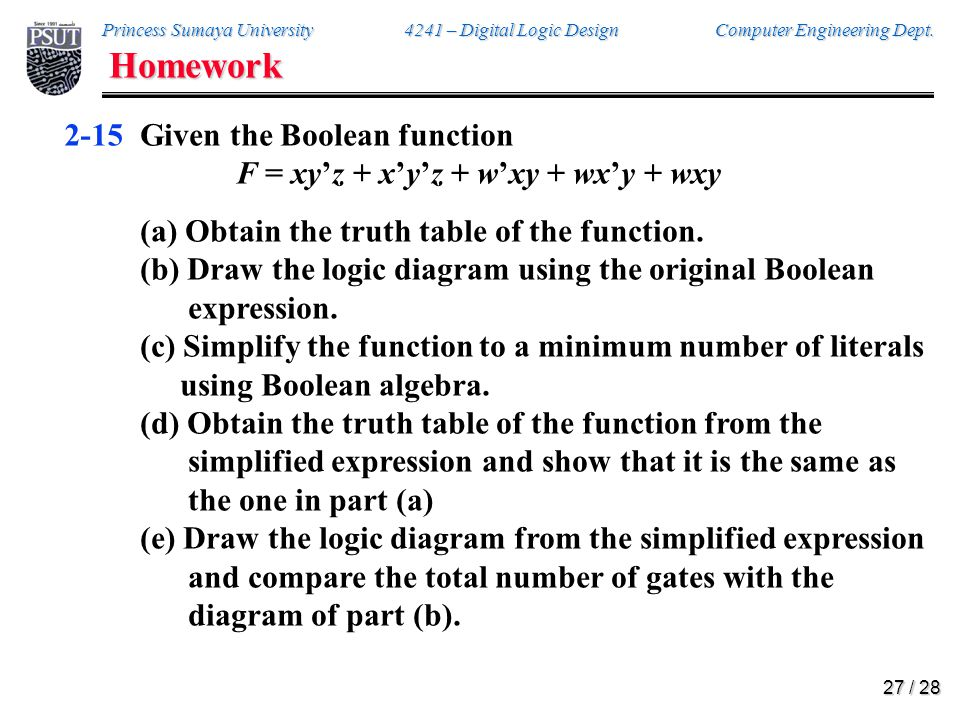 Homework 2-18 Convert the following to the other canonical form: