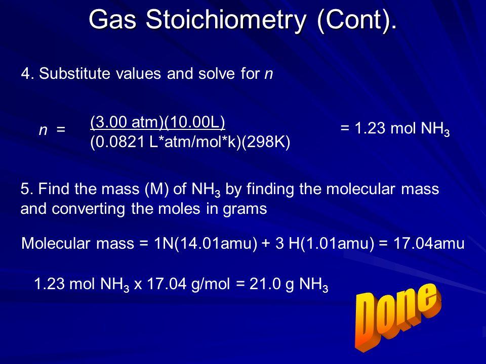Gas Stoichiometry (Cont).