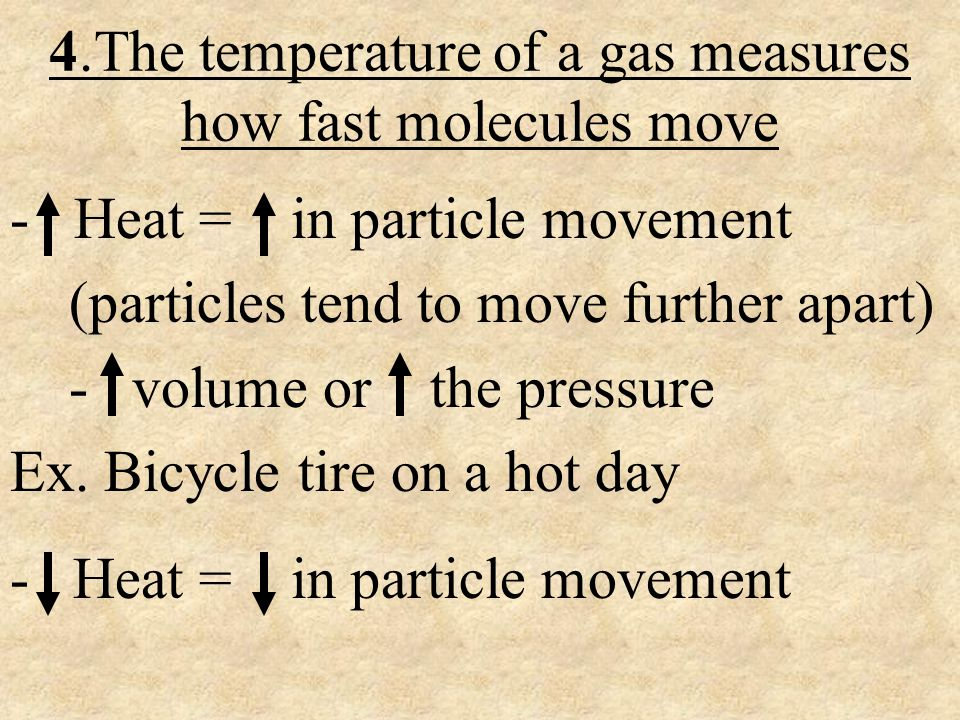 4.The temperature of a gas measures how fast molecules move