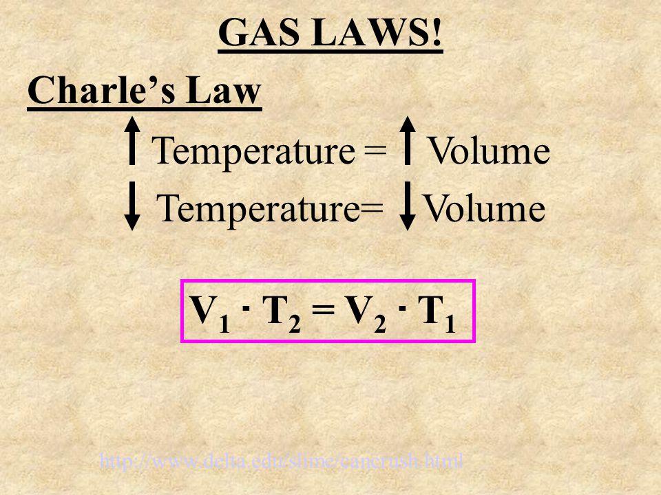 GAS LAWS! Charle's Law Temperature = Volume Temperature= Volume