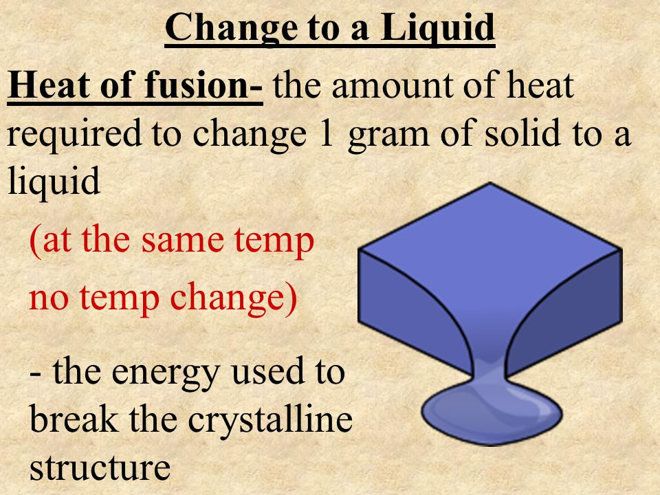 Change to a Liquid Heat of fusion- the amount of heat required to change 1 gram of solid to a liquid.