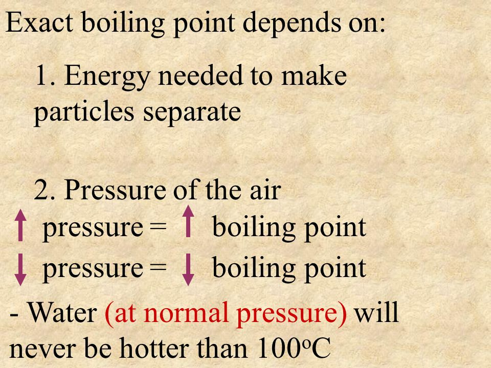 Exact boiling point depends on: