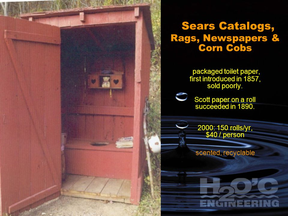 Sears Catalogs, Rags, Newspapers & Corn Cobs packaged toilet paper, first introduced in 1857, sold poorly.