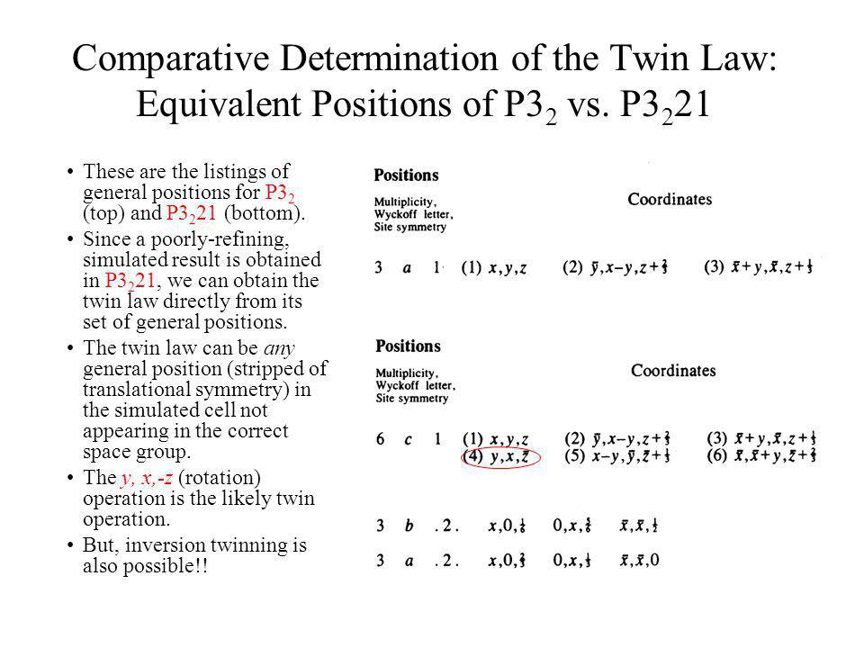 Comparative Determination of the Twin Law: Equivalent Positions of P32 vs. P3221