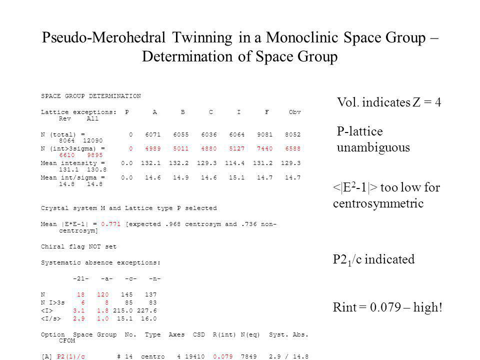 Pseudo-Merohedral Twinning in a Monoclinic Space Group – Determination of Space Group