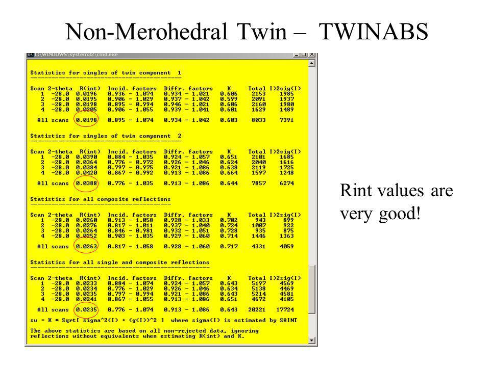 Non-Merohedral Twin – TWINABS