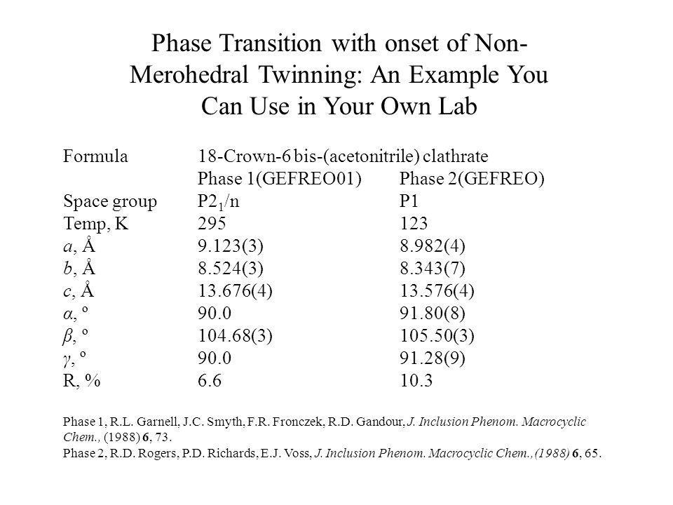 Phase Transition with onset of Non-Merohedral Twinning: An Example You Can Use in Your Own Lab