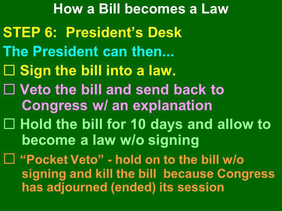 STEP 6: President's Desk The President can then...