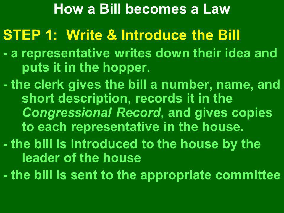 STEP 1: Write & Introduce the Bill