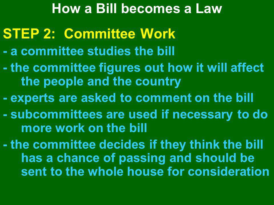 STEP 2: Committee Work How a Bill becomes a Law
