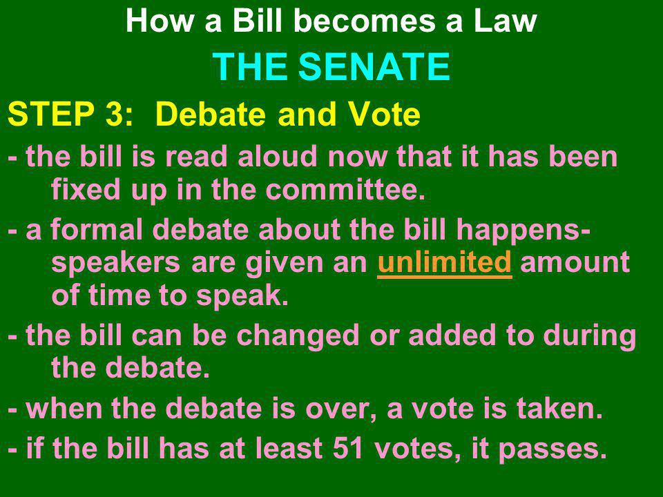THE SENATE STEP 3: Debate and Vote How a Bill becomes a Law