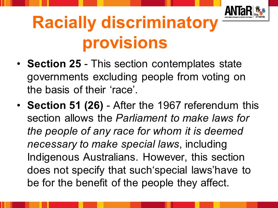 Racially discriminatory provisions