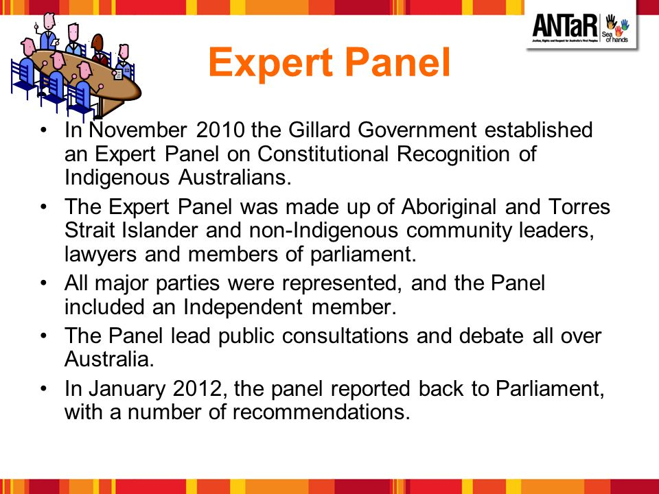 Expert Panel In November 2010 the Gillard Government established an Expert Panel on Constitutional Recognition of Indigenous Australians.