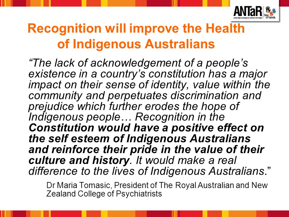 Recognition will improve the Health of Indigenous Australians