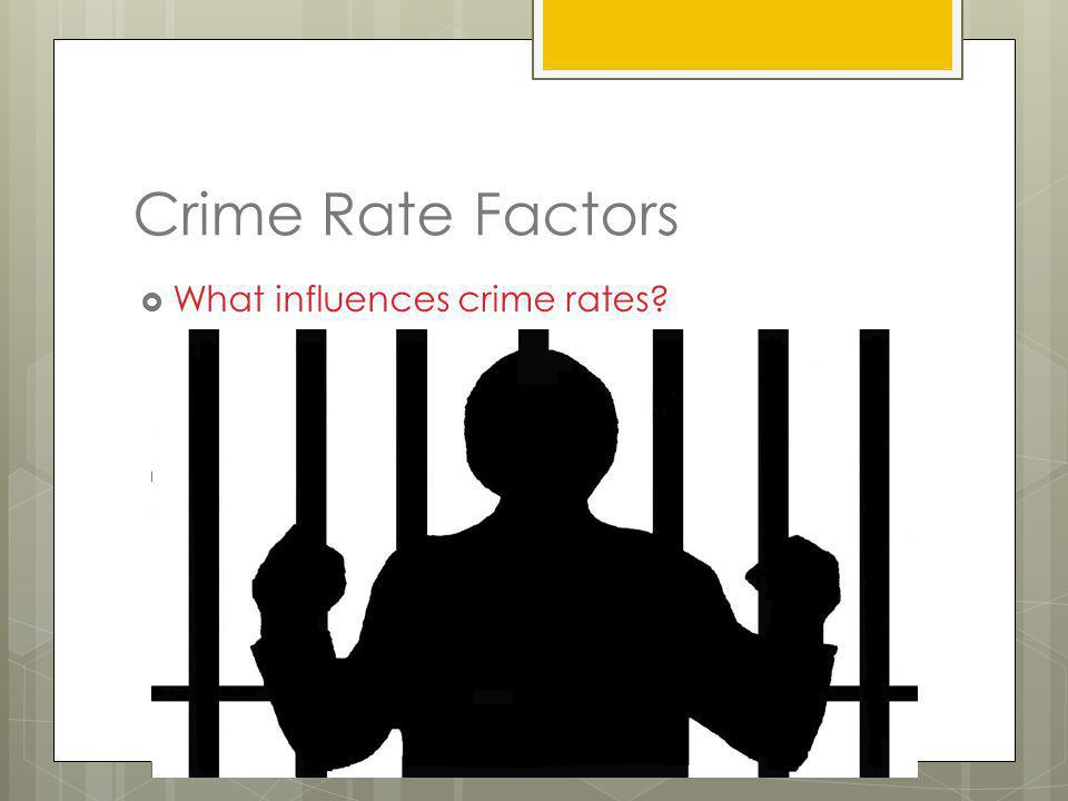 Crime Rate Factors What influences crime rates