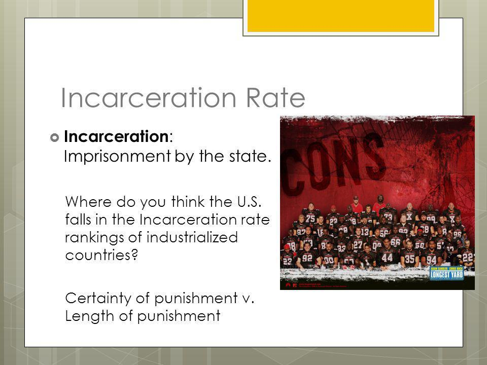 Incarceration Rate Incarceration: Imprisonment by the state.