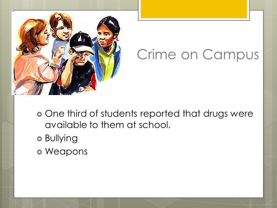Crime on Campus One third of students reported that drugs were available to them at school. Bullying.