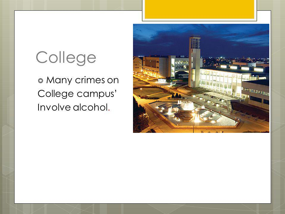 College Many crimes on College campus' Involve alcohol.