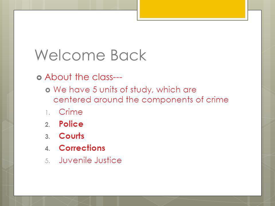 Welcome Back About the class---