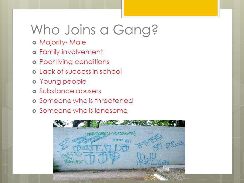 Who Joins a Gang Majority- Male Family involvement