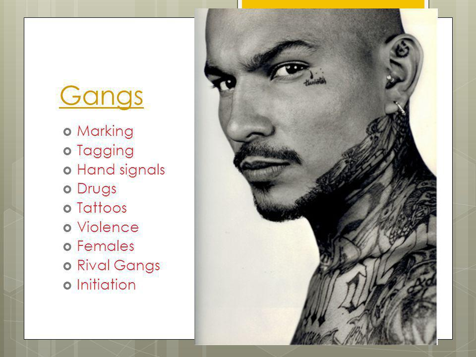 Gangs Marking Tagging Hand signals Drugs Tattoos Violence Females