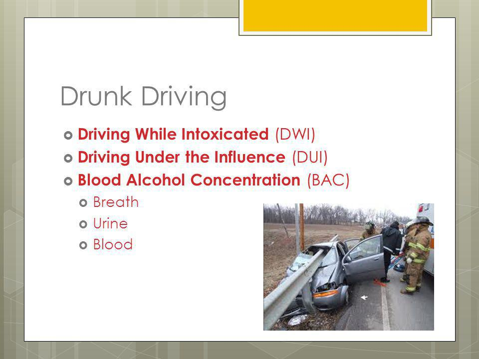 Drunk Driving Driving While Intoxicated (DWI)