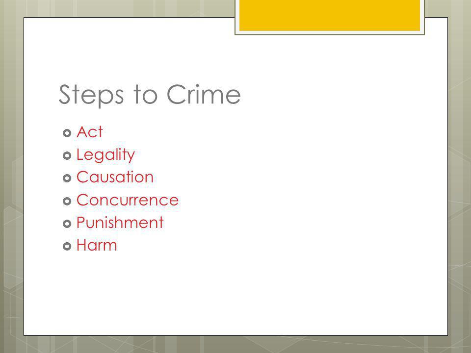 Steps to Crime Act Legality Causation Concurrence Punishment Harm