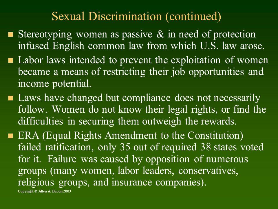 Sexual Discrimination (continued)