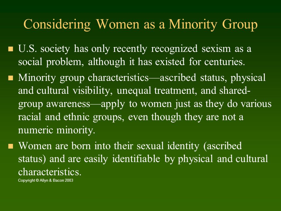 Considering Women as a Minority Group