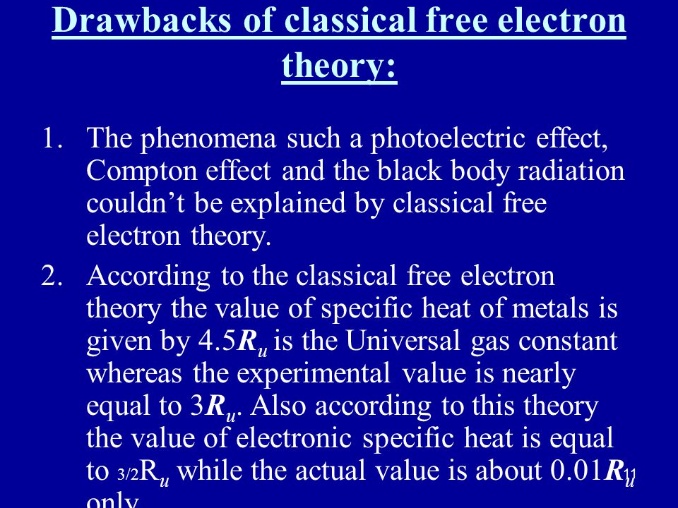 Drawbacks of classical free electron theory: