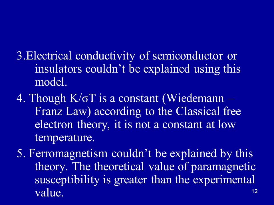 3.Electrical conductivity of semiconductor or insulators couldn't be explained using this model.