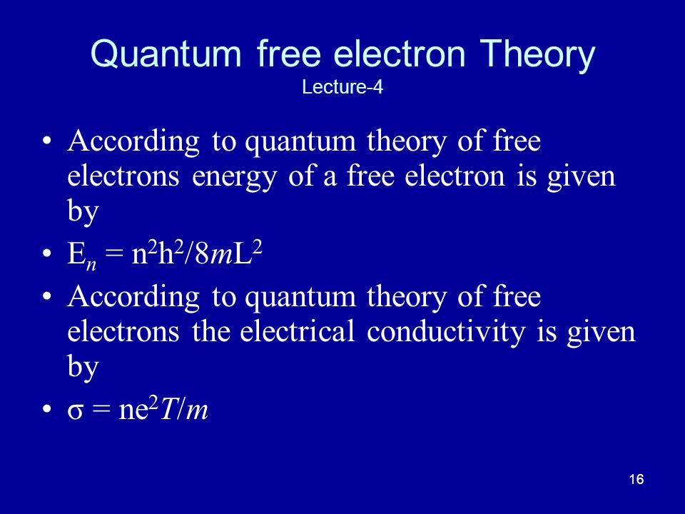 Quantum free electron Theory Lecture-4