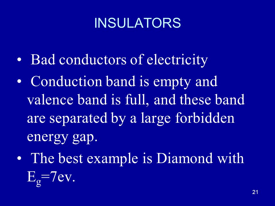 Bad conductors of electricity