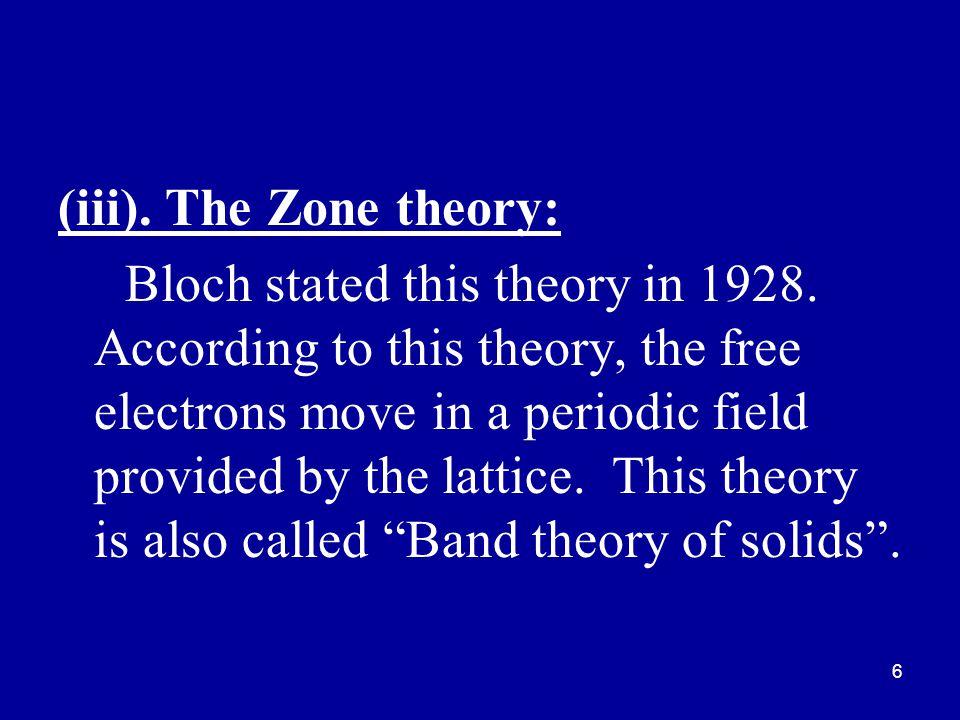(iii). The Zone theory: