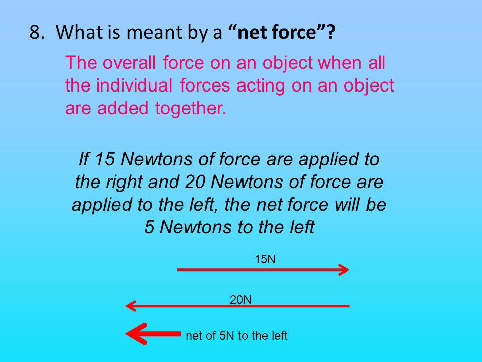 8. What is meant by a net force