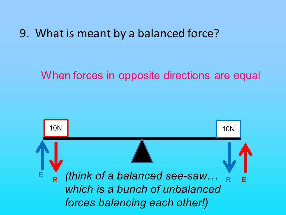 9. What is meant by a balanced force