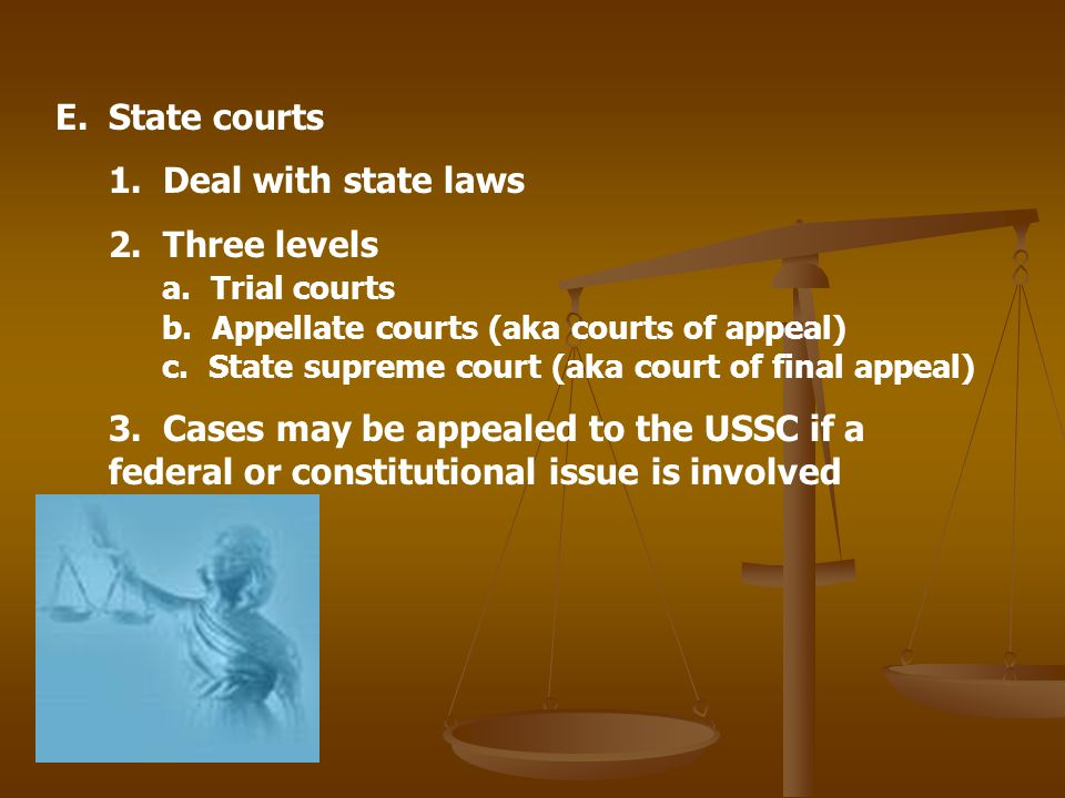 State courts 1. Deal with state laws