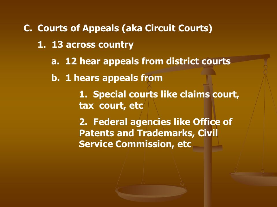 Courts of Appeals (aka Circuit Courts)