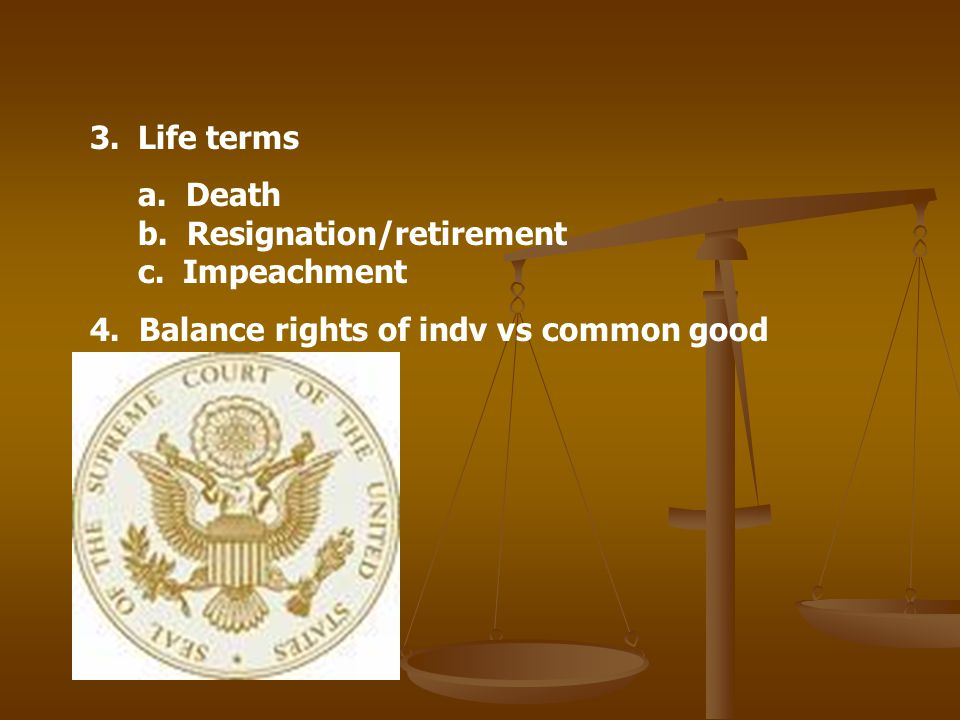 Life terms a. Death b. Resignation/retirement c.