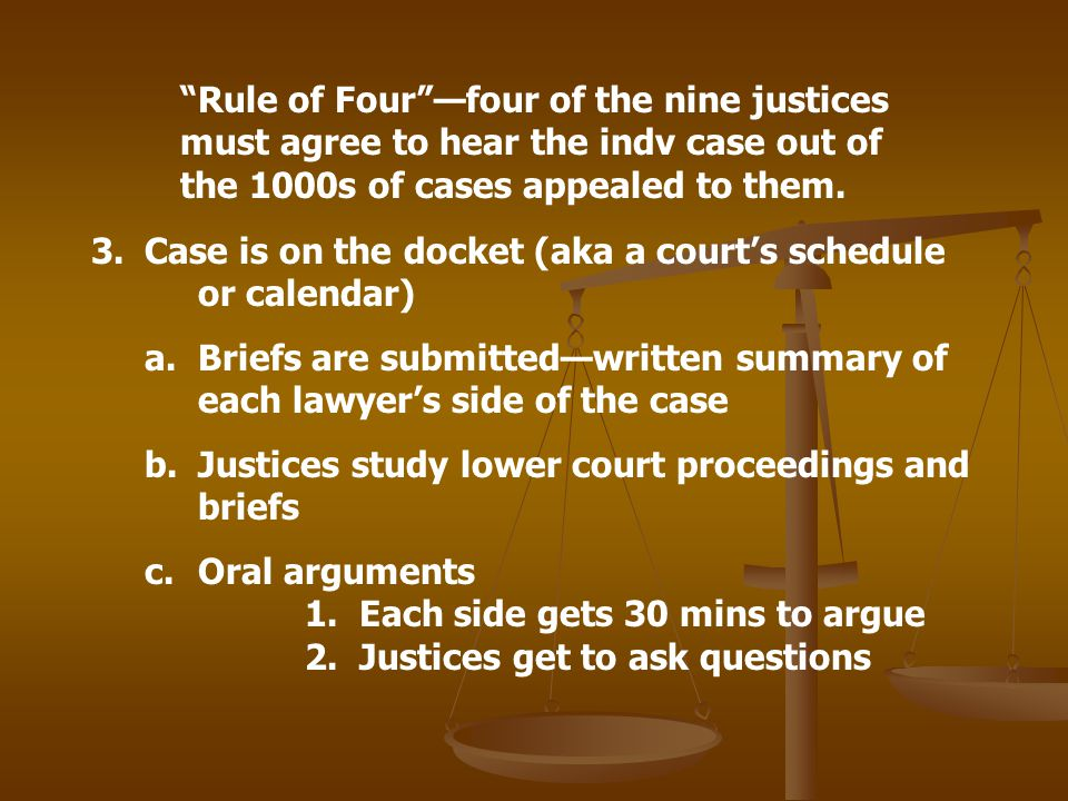 Rule of Four —four of the nine justices must agree to hear the indv case out of the 1000s of cases appealed to them.