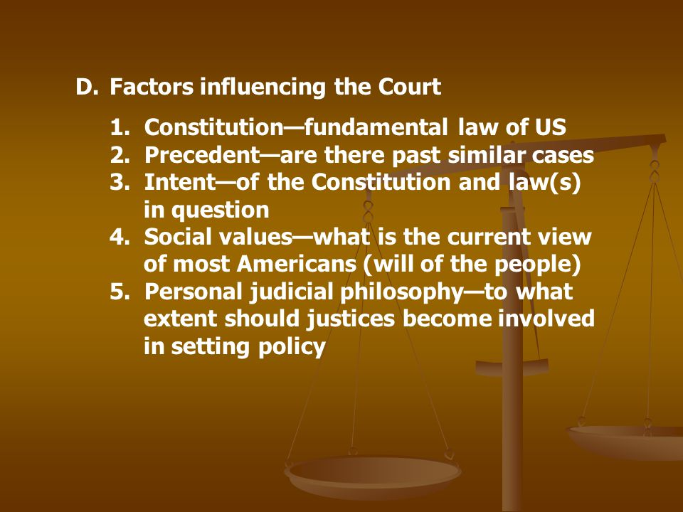 Factors influencing the Court