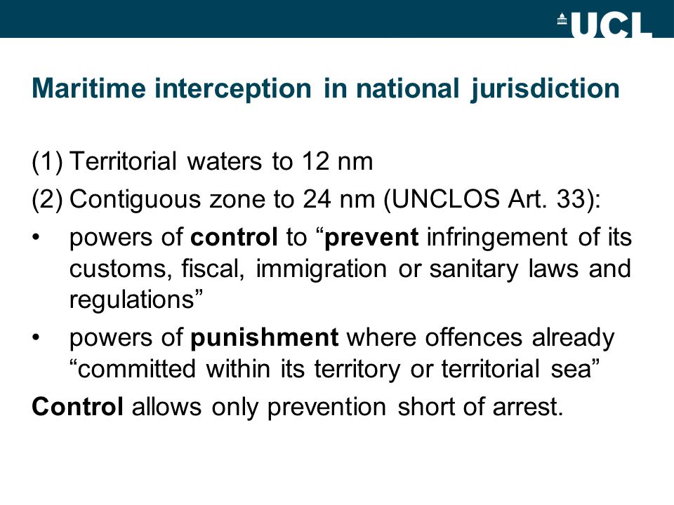 Maritime interception in national jurisdiction