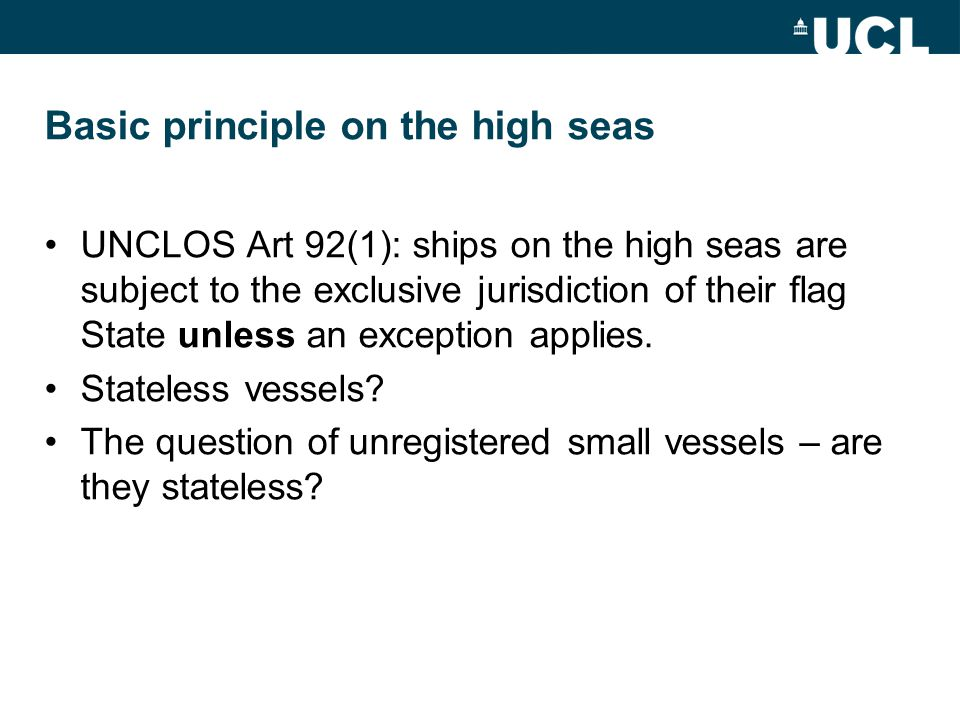 Basic principle on the high seas