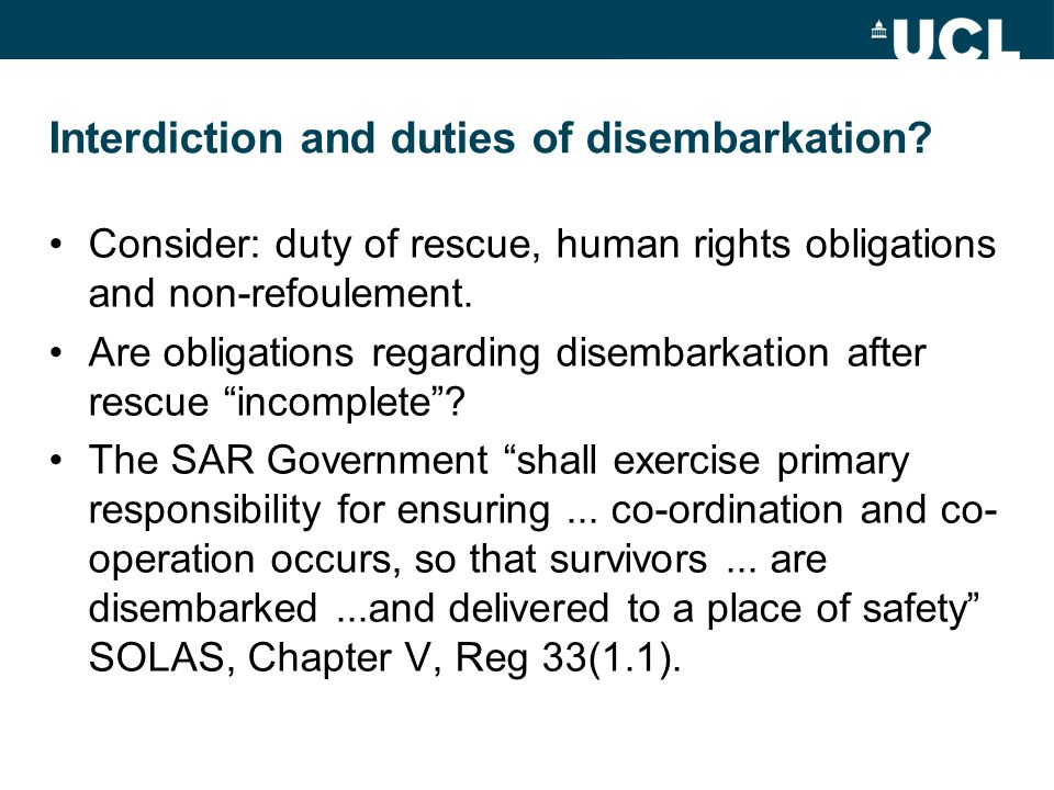 Interdiction and duties of disembarkation