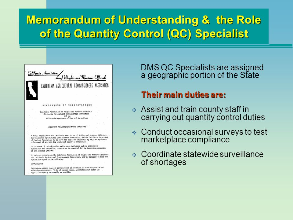 Memorandum of Understanding & the Role of the Quantity Control (QC) Specialist