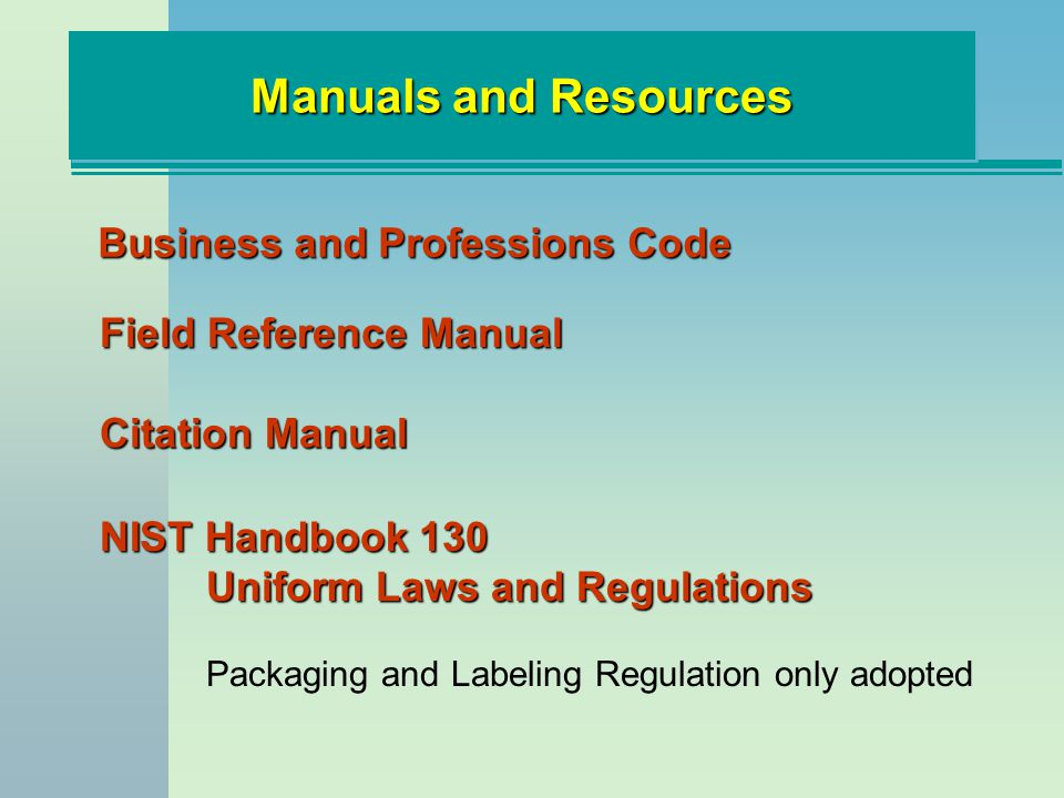 Manuals and Resources Business and Professions Code